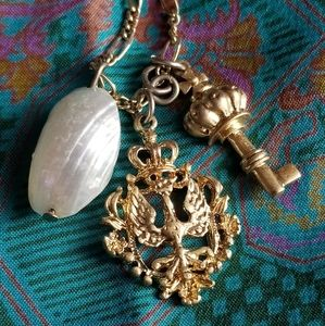 Jewelry - Key, crown, and shell charm necklace long gold ton